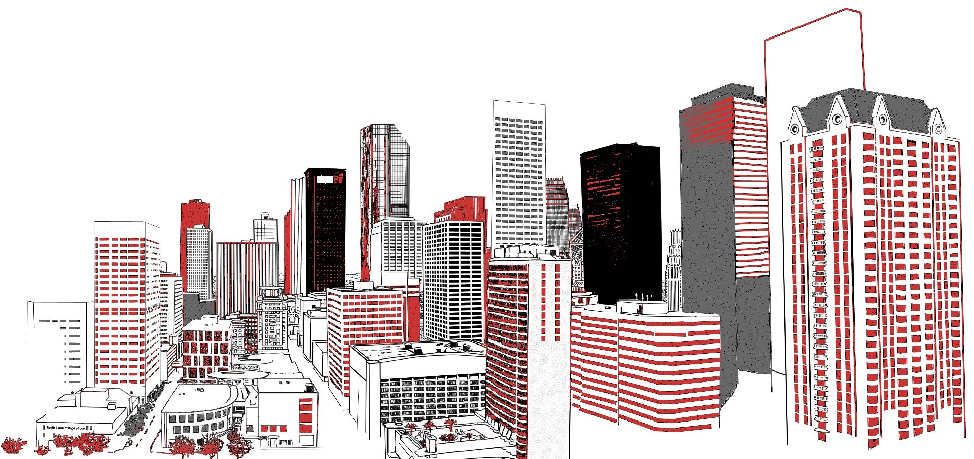 lineart drawing of the Houston, Texas skyline